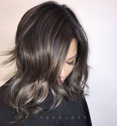 """Melted metallic balayage + haircolor + haircut #hairbyvena"""