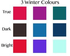 3-More-Winter-Colours-Shine is never hard on a Winter, Dark Winter wearing a more brushed finish than the smoother Bright Winter. Dark Winter's dark green-brown is magnificent as coat or cashmere.  I find icy mint superb on any Bright  Winter, whether the colour lives in the eye or not.