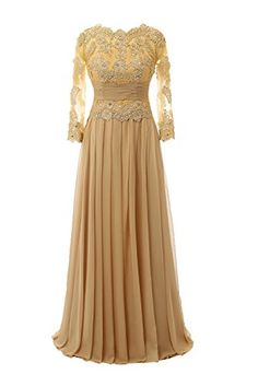 fb340761fb3 Ankang Women s Lace Long Sleeve Mother of the Bride Formal Beaded Prom  Party Dress Gold US2