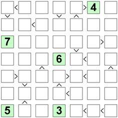 Number Logic Puzzles: 22784 - Futoshiki size 7