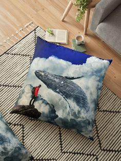 Achetez le design « Whale in yhe Clouds by GEn Z Whale, Cushions, Clouds, Throw Pillows, Artwork, Design, Toss Pillows, Toss Pillows, Work Of Art