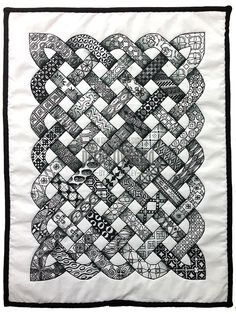 Zentangle inspired quilt size) by Neil Burley (Aaaaah! She took my quilt design haha. not the zentangle part) Celtic Quilt, Quilting Projects, Quilting Designs, Sewing Projects, Crochet Projects, Tangle Patterns, Quilt Patterns, Dress Patterns, Silkscreen