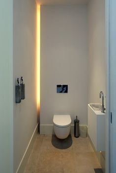 Small Toilet Room, Guest Toilet, New Toilet, Downstairs Toilet, Simple Bathroom Designs, Modern Bathroom Design, Modern Bathroom Lighting, Bathroom Interior Design, Beautiful Small Bathrooms