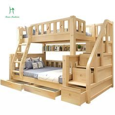 Online Shop Louis Fashion Children Bunk Bed Real Pine Wood with Ladder Stair Drawers Safe and Strong Bunk Bed Rooms, Bunk Beds With Stairs, Kids Bunk Beds, Cheap Bunk Beds, Childrens Bunk Beds, Bunk Beds With Drawers, Kids Furniture, Bedroom Furniture, Furniture Makeover