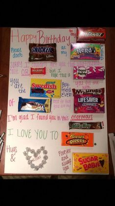 What a super cute and EASY DIY birthday gift idea – especially for someone who loves CANDY! The picture below shows this homemade birthday gift idea for a Homemade Birthday Gifts, Birthday Gifts For Best Friend, Birthday Crafts, Birthday Gifts For Boyfriend, Best Friend Gifts, Boyfriend Birthday Ideas Creative, 25th Birthday Ideas For Him, Birthday Candy Posters, Candy Birthday Cards