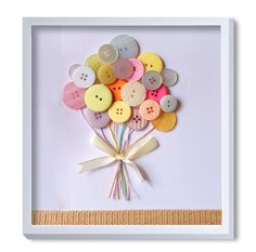 Nursery Art Baby Art Button Art - I want to make this Kids Crafts, Baby Crafts, Hobbies And Crafts, Diy And Crafts, Craft Projects, Projects To Try, Arts And Crafts, Paper Crafts, Button Art Projects