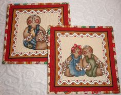 Christmas Mug Rug Set featuring a Gingerbread Boy and Girl  Red by KeriQuilts, $16.50