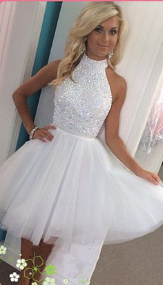 Cute A-line White Tulle Homecoming Dress with Open Back High Neck - Thumbnail 2