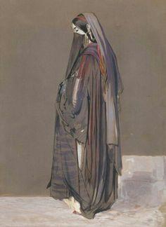 Orientalism ~ Veiled Egyptian Girl, Cairo by John Frederick Lewis, circa 1840