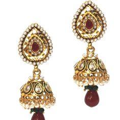 Indian Bollywood Silver Kundan Pearl Ruby Gold Plated Jhumki Earrings Jewelry #vidhijewelss #DropDangle
