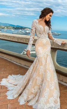 695d5c7e36 2018 Tulle Scoop Long Sleeves With Applique Mermaid Wedding Dresses US   309.99 KKPCBCETHQ. Boda De ...