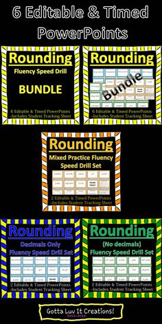 Rounding Fluency Speed Drill.  Save $4 and buy the BUNDLE for $5.  This BUNDLE includes 6 timed and editable PowerPoints.  Sold individually for $3 each.  Includes a student tracking sheet to track growth.
