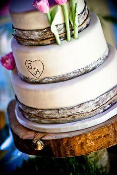 Birch Bark Wedding Cake- We love the detailing of the bark