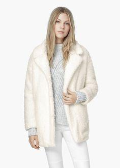 Manteau tissu bouclé à revers -  Femme | MANGO