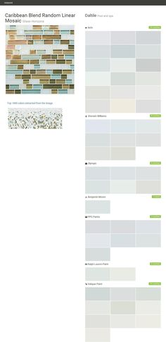 Caribbean Blend Random Linear Mosaic. Glass Horizons. Pool and spa. Daltile. Behr. Sherwin Williams. Olympic. Benjamin Moore. PPG Paints. Ralph Lauren Paint. Valspar Paint.  Click the gray Visit button to see the matching paint names.