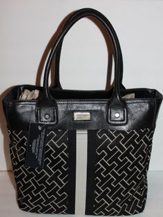 Women's Top-Handle Handbags - Tommy Hilfiger Large Signature Tote Handbag Bag Purse * Want additional info? Click on the image.
