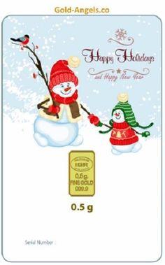 0.5 GRAM 999.9 HAPPY HOLIDAYS  2014 24K FINE GOLD BULLION BAR WITH LBMA CERT