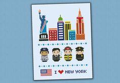 New York icons - Mini people around the world - PDF cross stich pattern