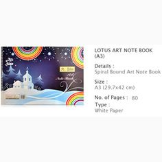 Lotus Drawing book A3, Pages 80 — Teach your children the importance of art and creativity with this Drawing Book for Kids. Centre Stapled for easy handling and wider space to draw and paint.