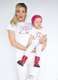 T-shirt Set Mama und Baby / Kind mit Hund