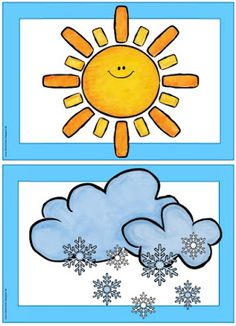 "Picture and word cards ""weather"" Claire has Flashcards / Wordcards on the topic . English Activities, Vocabulary Activities, Preschool Worksheets, Kindergarten Activities, Preschool Activities, Weather For Kids, Preschool Weather, Weather Science, Thematic Units"
