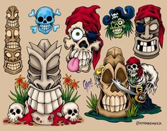 New Tiki And Pirate Skull Tattoos Flash