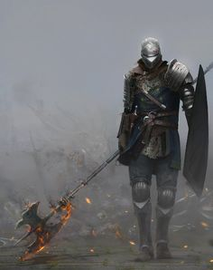 Elite Knight Armor - from Dark Souls Series Dark Fantasy Art, Fantasy Armor, Medieval Fantasy, Character Portraits, Character Art, Art Dark Souls, Ornstein Dark Souls, Mononoke, Soul Game