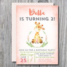 Birthday Party invitation | invite 1 2 3 4 5 6 7 8 9 kids giraffe baby african jungle watercolor boy girl green pink coral printable 23