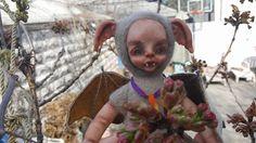 OOAK fantasy art doll.Baby Bat.Needle felted doll. Interior doll.