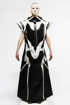 Sculptural Fashion - long leather dress with dramatic oversized silhouette; wearable art // Sade English AW14