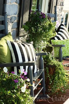 Love the striped pillows and lime green!