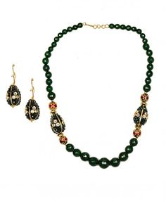 Green Beaded Necklace Set