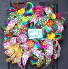 Bright Deco Mesh Easter Wreath by MNYDesigns on Etsy