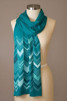 Chevron Scarf, Emerald by Jody Cedzidlo of Flytrap Studios, screenprinted 100% cotton, approx. 93 x 15 inches. Machine washable and dry-able with no bleeding or fading. SOLD