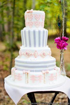 Pink and Grey Wedding Cake: #wedding  #weddingcake #colourscheme #grey #gray #silver #pink #palepink #white