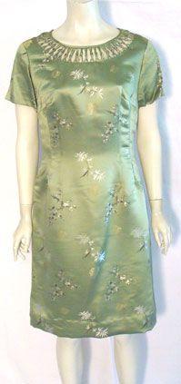 Vintage 1960s Green Satin Dress