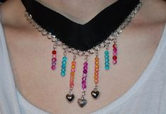 Black leather necklace, choker with glass beads and silver chain, gothic choker, handmade necklace, Mother's Day Gifts