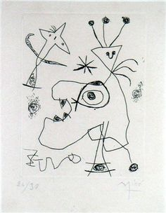 View this item and discover similar for sale at - Artist: Joan Miro, Spanish - Title: L'Aigrette from ans d'édition by Maeght Year: 1956 Medium: Etching, signed in the plate Joan Miro, Renaissance Artworks, Abstract Photography, Ancient Art, Les Oeuvres, Illustrators, Art Drawings, Abstract Art, Images