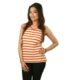 Sapphire Golden Red Stripe Ladies Singlet  SELLING PRICE Rs 309  Shop Us Now:-http://goo.gl/2OaNSQ