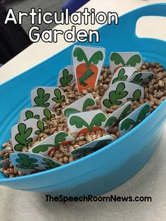 awesome Articulation Garden: Interactive Sensory Tub Activity Read More by SpeechRoomNews. Articulation Therapy, Speech Activities, Speech Therapy Activities, Speech Language Pathology, Speech And Language, Preschool Articulation Activities, Preschool Songs, Language Activities, Sensory Activities