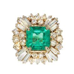 Carat Emerald Diamond Princess Gold Cocktail Ring For Sale Emerald Diamond, Halo Diamond, Emerald Isle, Deco Engagement Ring, Cocktail Rings, Diamond Princess, Princess Rings, Princess Style, Jewellery Rings