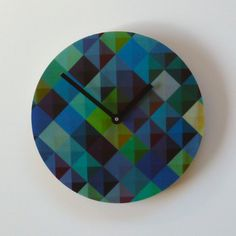 These wall clocks are made from sustainably produced Radiata Pine plywood with the design digitally printed to polyester and laminated to the front. Great for bedrooms, the kitchen or living room. Blue Green Rooms, Blue Walls, Blue Wall Clocks, Pine Plywood, Clock Movements, Home Board, Geometric Designs, Tech Accessories, Decor Styles