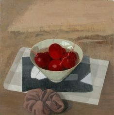 """Susan Jane Walp Crabapples in a Bowl with Scrunchie(2011)oil on linen 8.25x8.125in  2011  oil on linen  8 1/4 x 8 1/8"""""""