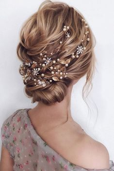 hair accessories inspiration wedding hairstyle elegant low textured updo with gold accessories and pearls belaya_lyudmila