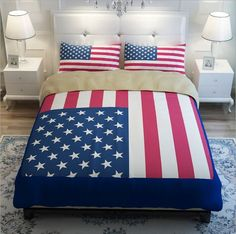 USA Stars & Stripe American Flag Duvet/Quilt w/Pillow Case Bedding Set 4 Sizes/Sets