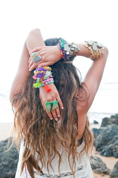 long beachy waves with #feathers + colorful boho #jewelry