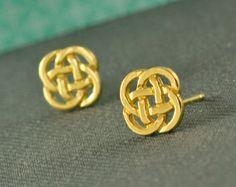 Stud earrings  gold plated celtic symbol  Post earrings by tuliya, $26.00