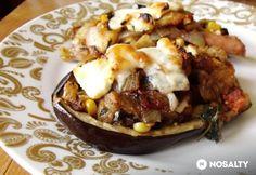 Füstölt virslis padlizsánhajó Baked Potato, Paleo, Potatoes, Baking, Ethnic Recipes, Food, Potato, Bakken, Essen