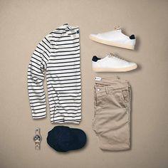 Stripe Up. or ? . . Follow @capsulewardrobemen . . #mensfashion #outfitgrid #flatlay #vscogrid