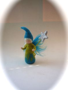 Wet feltedFairy with a star.Waldorf .Doll wet felted. by FilzArts